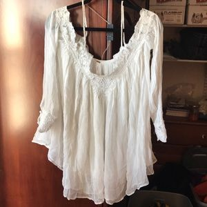 Free People White Lace Sheer Blouse